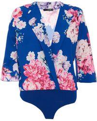 Quiz - Royal Blue Floral Lapel Bodysuit - Lyst