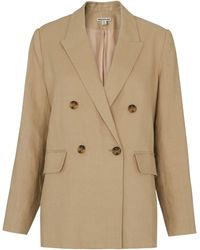 Whistles - Linen Double Breasted Blazer - Lyst