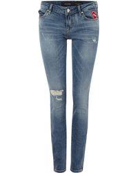 Guess | Marylin 3 Zip Jean In Glowing Strike | Lyst