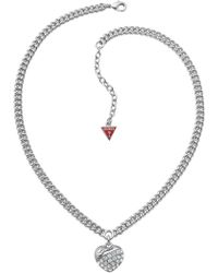 Guess | Crystal Crush Silver Heart Necklace | Lyst