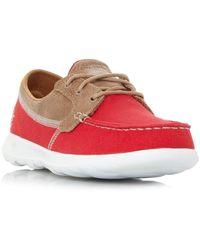 Skechers Go Walk Lite Boat Shoes Ladies - Red