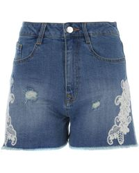 Jane Norman - Lace Denim Shorts - Lyst