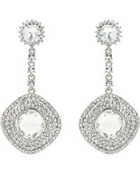 Mikey - Square Crystal Studded Drop Earring - Lyst