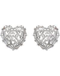Mikey - Heart Design Baugette Cubic Stud Earring - Lyst