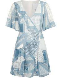 C/meo Collective Printed Ruffle Mini Dress - Blue