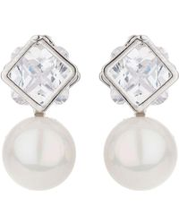 Mikey | Square Crystal Stud Pearl Drop Earring | Lyst