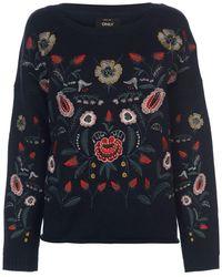 14b07c351b5 Uma Embroidered Knit Jumper - Blue