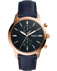Fossil - Townsman Chronograph Navy Leather Watch - Lyst