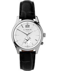 Links of London | Regent Silver Dial Black Strap Watch | Lyst