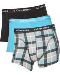Björn Borg - 3 Pack Check And Plain Trunk - Lyst