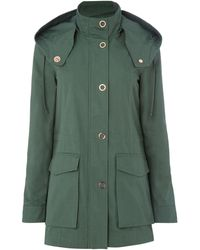 Armani Exchange Caban Coat In Moss - Green
