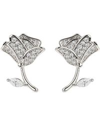 Mikey - Flower Stem Crystal Stud Earring - Lyst