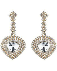 Mikey - Oval Crystal Long Drop Surround Earring - Lyst