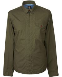 Pretty Green - Men's Zip Front Shirt With Back Print - Lyst