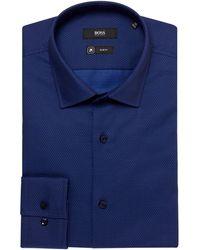 BOSS - Jenno Slim Fit Micro Chevron Shirt - Lyst