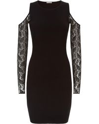 Jaeger - Lace Cut-out Knitted Dress - Lyst
