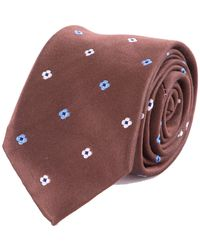 Double Two Floral Patterned Luxury Silk Tie - Brown