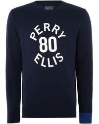 Perry Ellis - Men's Large Logo Print Long Sleeve Jumper - Lyst