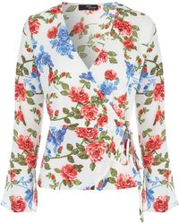 Jane Norman - Floral Wrap Flare Sleeve Top - Lyst