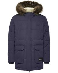 Calvin Klein Ck Jeans Faux Fur Hooded Parka Coat - Blue