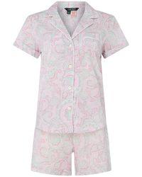 Lauren by Ralph Lauren Lrl Roll Ntch Ss Set Ld92 - Pink