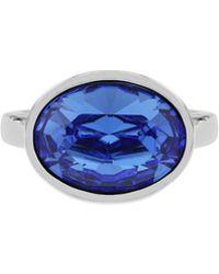 Aurora Flash   Rhodium Plated Oval Crystal Ring   Lyst