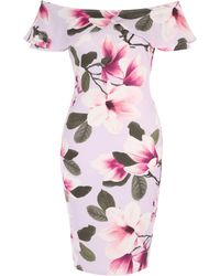 Jane Norman - Floral Frill Bardot Dress - Lyst