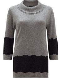 James Lakeland Lace Hem Jumper - Grey