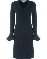 Issa Knitted Textured Flute Sleeve Dress - Blue