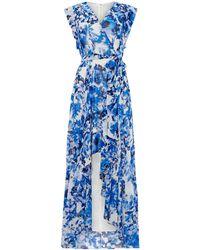 Eliza J - V Neck Printed Maxi Dress - Lyst