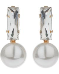 Mikey | Baguette Crystal Pearl Drop Earring | Lyst