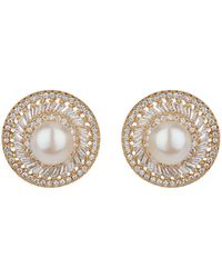 Mikey - London Bugette Cubic Edged Pearl Top Earrin - Lyst