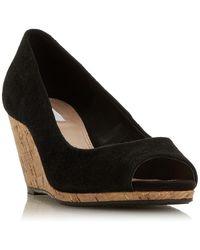 Dune Caydence Peep Toe Cork Wedge Sandals - Black