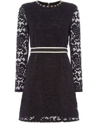 Juicy Couture Long Sleeve Lace Dress - Black