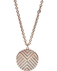 Fossil - Chevron Pattern Glitz Pendant Necklace - Lyst