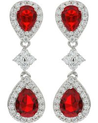 Mikey - Twin Oval Cubic Linked Drop Earring - Lyst