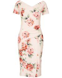 Feverfish - Off Shoulder Rose Print Dress - Lyst