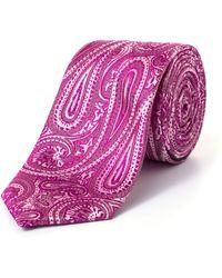 Paul Costelloe - Skinny Pink Elongated Paisley Print Tie - Lyst