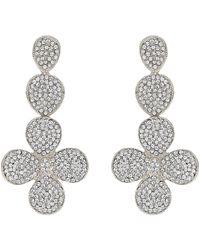 86386ed8e54e3 Flower Design Crystal Studded Earring - Metallic