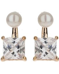Mikey - Squre Crystal Drop Pearl Top Earring - Lyst