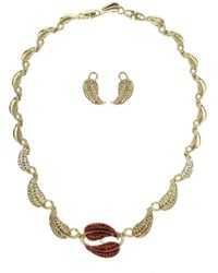 Mikey | Leaf Design Crystal Necklace | Lyst