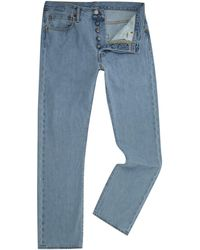 Levi's - 501 Straight Fit Light Wash Jeans - Lyst