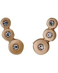 Pilgrim - Bella Rose Gold Color White Earrings - Lyst