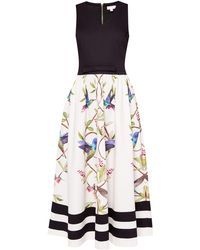 Ted Baker - Highgrove V-neck Cotton Midi Dress - Lyst
