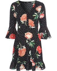 Jane Norman - Floral Flared Sleeve Dress - Lyst