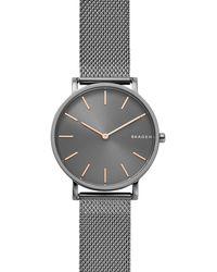 Skagen - Hagen Slim Dark Grey Steel-mesh Watch - Lyst