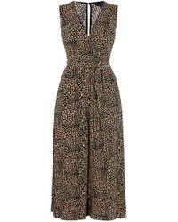 Karen Millen - Leopard Wide Leg Jumpsuit - Lyst