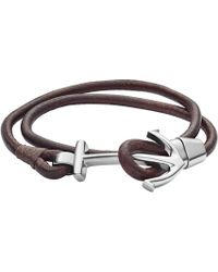 Fossil - Anchor Brown Leather Wrist Wrap Bracelet - Lyst