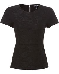 Ellen Tracy - Bonded Lace Top With Piping - Lyst