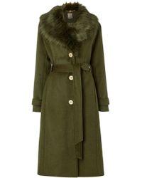 Biba - Detachable Faux Fur Collar Wool Mix Belted Coat - Lyst